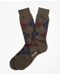Brooks Brothers - Brown Argyle Crew Socks for Men - Lyst