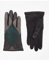 Brooks Brothers | Gray Color-block Suede Gloves | Lyst