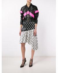 Ashley Williams - Black Fishnet Print Asymmetric Silk Skirt - Lyst