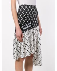 Ashley Williams - Black Fishnet Print Asymmetric Silk Skirt - Lyst