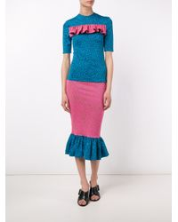 House of Holland - Pink Pufferfish Frill Pencil Skirt - Lyst