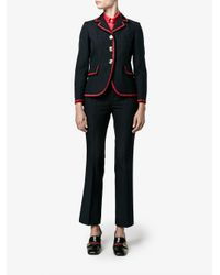 Gucci - Blue Cropped Spotted Wool Trousers - Lyst