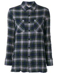 Saint Laurent - Blue Checked Shirt - Lyst