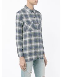 Saint Laurent - Blue Checked Shirt - Lyst