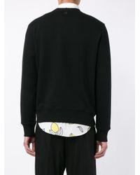 AMI - Black Flocked-logo Sweatshirt for Men - Lyst
