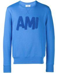 AMI - Blue Flocked-logo Sweatshirt for Men - Lyst