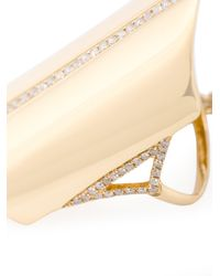 Dionea Orcini - Metallic Marquise 18k Gold And Diamond Hand Bracelet - Lyst
