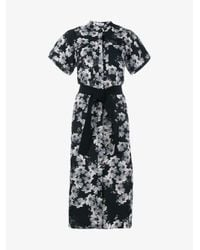 Erdem - Black Floral Print Shirt Dress - Lyst