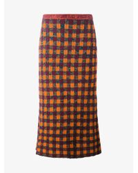Miu Miu - Multicolor - Checked Knitted Skirt - Women - Polyamide/mohair/wool/virgin Wool - 42 - Lyst