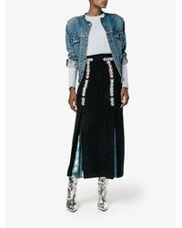 Peter Pilotto - Blue Velvet Stripe Midi Skirt - Lyst