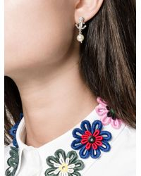 Miu Miu - Metallic Swarovksi Crystal And Pearl Anchor Earrings - Lyst