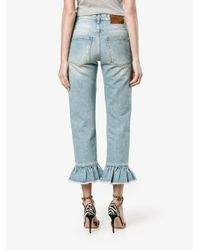 MSGM - Blue Ruffle-trimmed Cropped Jeans - Lyst