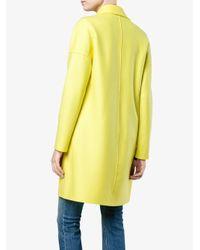 Harris Wharf London - Yellow Single Breasted Wool Cocoon Coat - Lyst