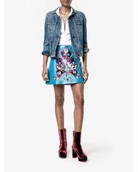 Miu Miu - Blue Floral Embroidered Mini Skirt - Lyst