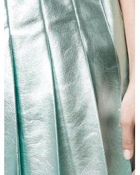 Miu Miu | Blue - Metallic Pleated Skirt - Women - Lamb Skin/spandex/elastane/cupro - 42 | Lyst