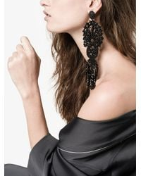 Gucci | Black Crystal Embroidered Clip On Earrings | Lyst