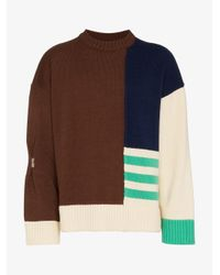 ADER ERROR - Brown Contrast Panel Wool Jumper for Men - Lyst