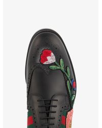 Gucci - Black Floral Embroidered Brogues for Men - Lyst