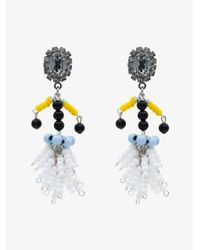 Marni - White Beaded Clip-on Earrings - Lyst