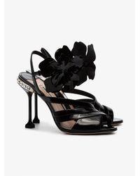 Miu Miu - Black Flower 105 Patent Leather Sandals - Lyst