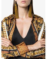 Versace - Metallic Medusa Tassel Drop Earrings - Lyst