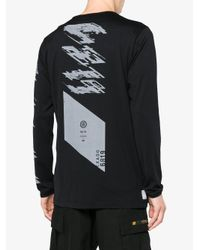 Stone Island - Black Logo Print Long Sleeve T Shirt for Men - Lyst