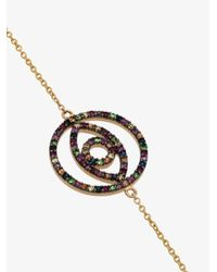 Ileana Makri - Metallic 18k Yellow Gold Eye Sapphire Rhodolite Tsavorite Bracelet - Lyst