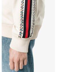 a2f1a7eff01 Lyst - Gucci Ivory Crystal Embellished Jersey Sweatshirt