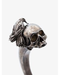 Alexander McQueen - Metallic Silver Skull Head Metal Bangle for Men - Lyst