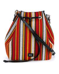 N°21 - Red Woven Stripe Bucket Bag - Lyst