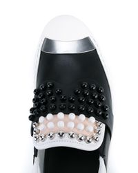 Fendi - Black Karl Studded Leather Sneakers - Lyst
