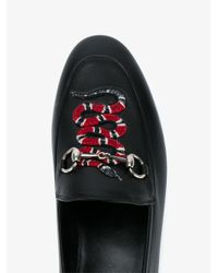 Gucci - Black Snake Embroidered Leather Moccasins - Lyst