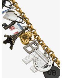 Balenciaga - Metallic Multicoloured Souvenir Charm Bracelet - Lyst
