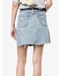 Re/done - Blue High Waisted Denim Mini Skirt - Lyst