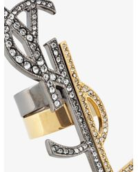 Saint Laurent - Metallic Anello A Set 'monogramme Destructure' - Lyst