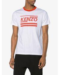 KENZO - White Striped Logo T Shirt for Men - Lyst