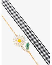 Miu Miu - Metallic Daisy Charm Gingham Bracelet - Lyst