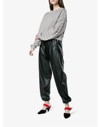 Jonathan Simkhai - Gray Cropped Stitched Sweatshirt - Lyst