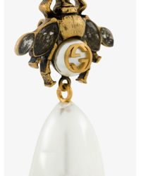 Gucci - Metallic Bee Drop Faux Pearl Earrings - Lyst