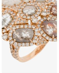 Saqqara - Metallic 'coral' Diamond Ring - Lyst