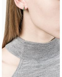 Lizzie Mandler - Gray Petit Square Emerald 'huggies' Earrings - Lyst