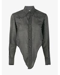 Saint Laurent | Black Polka Dot Print Shirt | Lyst