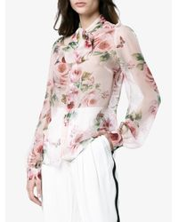 Dolce & Gabbana - Pink Silk Rose Print Chiffon Blouse - Lyst