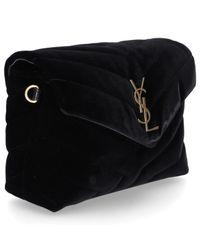 Saint Laurent - Black Handtasche Monogram Samt Logo Schwarz - Lyst