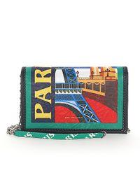 Balenciaga - Green Shoulder Bag Clutch Bazar Chain Leather Multicolour City-print Paris - Lyst