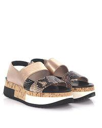 Agl Attilio Giusti Leombruni - Metallic Agl Sandals D60812 Plateau Slingback Leather Gold Black Snake Embossed - Lyst