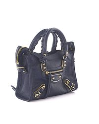 Balenciaga - Hand Bag Shoulder Bag City Metal Nano Leather Blue Grain Studs Gold - Lyst