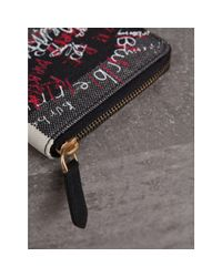 Burberry - Black Doodle Print Coated Check Canvas Ziparound Wallet for Men - Lyst