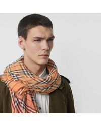 Burberry - Multicolor Two-tone Vintage Check Cotton Square Scarf - Lyst