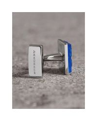 Burberry - Blue Check-engraved Square Cufflinks for Men - Lyst